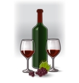 bottle wine two glasses and grapes vector image