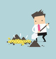 businessman digging a ground to find an idea vector image
