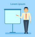 businessman pointing to empty white board showing vector image vector image