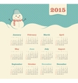 Calendar 2015 year with snowman vector image