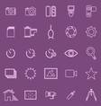 Camera line icons on violet background vector image vector image