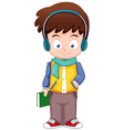 Cartoon Boy listen music vector image vector image