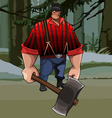 Cartoon burly lumberjack with an ax in the forest