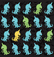 cartoon monsters seamless pattern vector image
