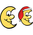 cartoon of a happy yellow christmas moon vector image vector image