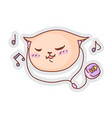 cat listening music funny sticker isolated on vector image