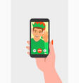 christmas celebration video call to a friend vector image