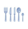 cutlery - fork knife tablespoon tea spoon vector image