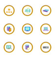 database icons set cartoon style vector image vector image