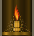 decorative gold element with flame vector image vector image