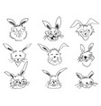 doodle funny rabbit face head vector image vector image
