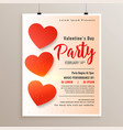 elegant valentines day flyer poster design vector image vector image