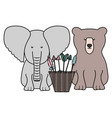 elephant and bear with basket arrows bohemian vector image vector image