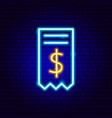 financial bill neon sign vector image