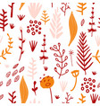Floral hand drawn seamless pattern with flowers