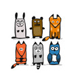 forest animal character collection sketch for vector image