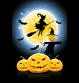 halloween funny with witch vector image vector image