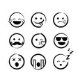 hand drawn ink emojis faces doddle emoticons vector image vector image
