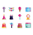 happy birthday celebration decoration icons set vector image