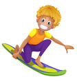 Happy man on surf board vector image