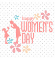 happy womens day pink text spot white background v vector image vector image