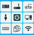 hardware icons set with audio cable power supply vector image