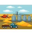 Harvesting grain Combine harvester tractor and vector image