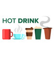 hot drink mug cup coffee tea ceramic vector image vector image
