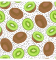 kiwi fruit seamless pattern whole and piece with vector image vector image