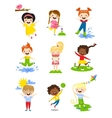 Little kids happy spring playing watering flowers vector image