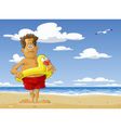 man on the beach vector image vector image