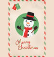 merry christmas vintage cute snowman postcard vector image vector image
