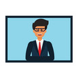 online businessman presentation cartoon flat vector image