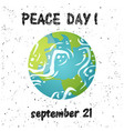 planet card peace day earth postcard vector image