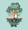rabbit and bear woodland animals vector image vector image