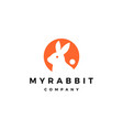 Rabbit circle round negative style logo icon