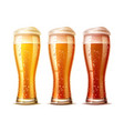 realistic beer glasses set lager dark ale vector image