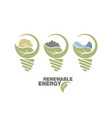 renewable energy set earth in bulb the concept vector image