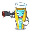 sailor with binocular sleeping bad mascot cartoon vector image