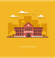 school building on orange background vector image vector image