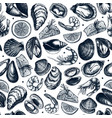 seafood seamless pattern hand drawn fish vector image