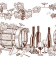 seamless horizontal borders of sketch wine icons vector image vector image