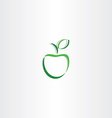 stylized green apple with leaf logo icon element vector image vector image