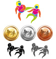 Three medals design for taekwondo vector image