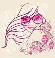 women in sunglasses floral vector image vector image