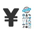 Yen Flat Icon with Bonus vector image