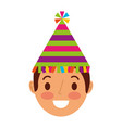 young face man smiling with party hat vector image