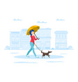 young woman with umbrella walking with dog on vector image