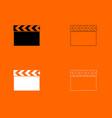 cinema clapper black and white set icon vector image