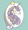 cute magic unicorn head with horn vector image